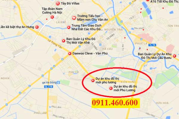 Vị trí biệt thự liền kề Phú Lương