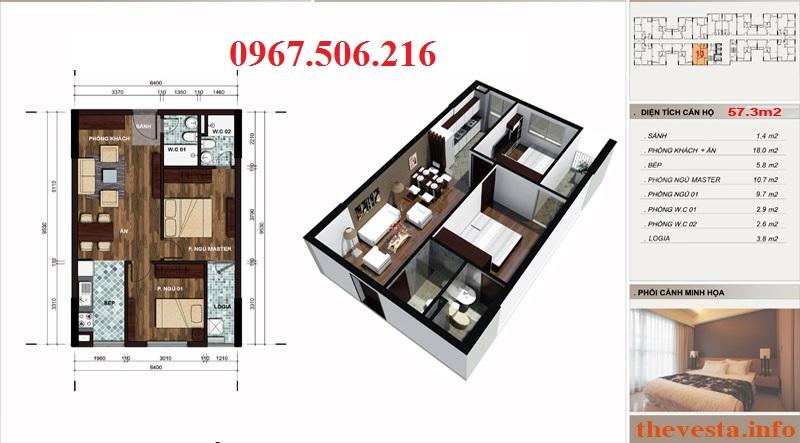 Thiết kế căn hộ 57m2 dự án The Vesta