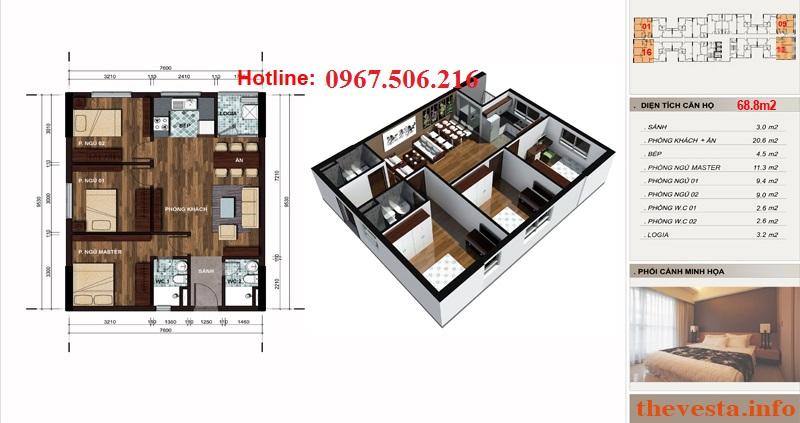 Thiết kế căn hộ 68m2 dự án The Vesta