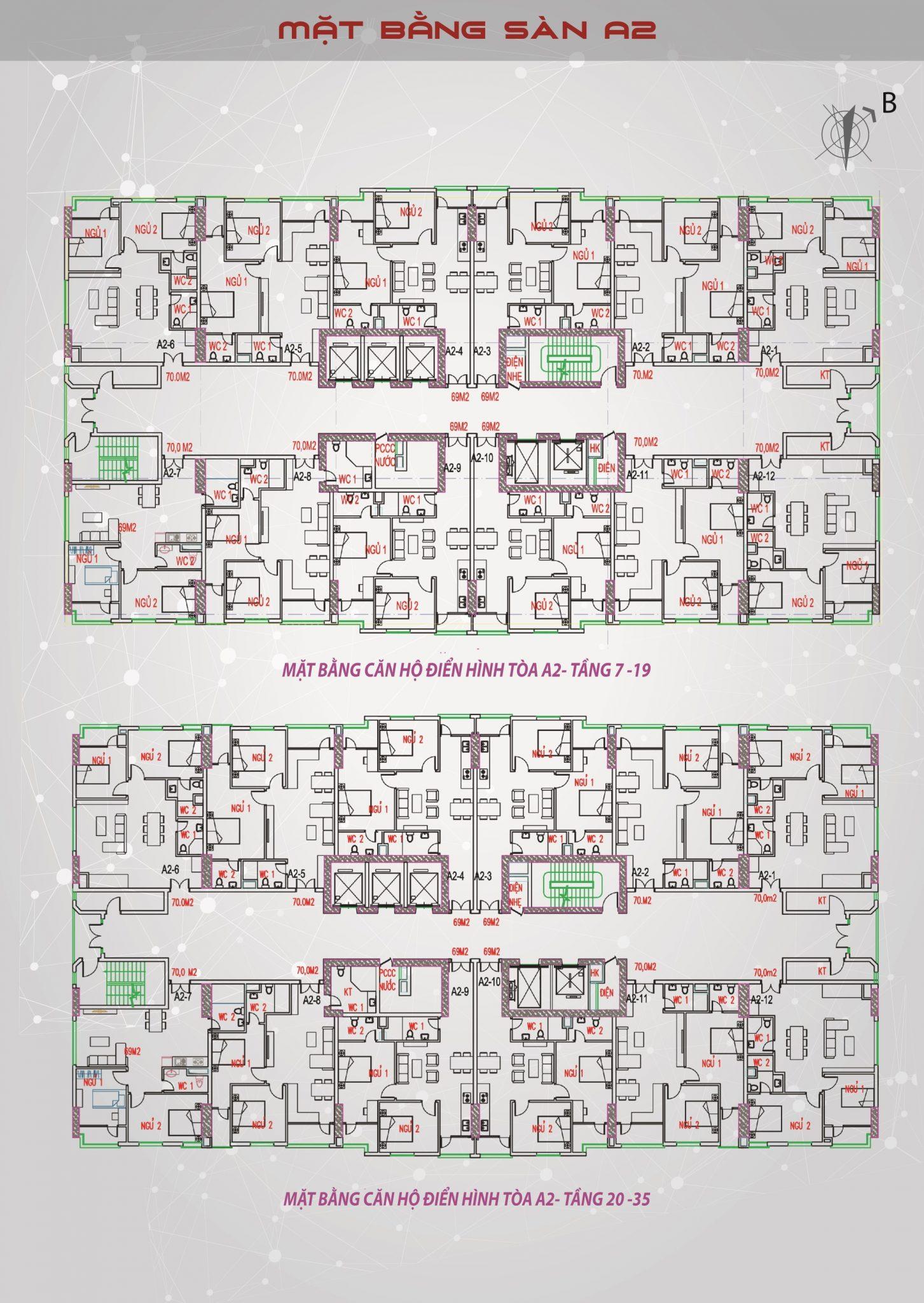 Mặt bằng tòa A2 Tầng 7-35 Dự án Bright City