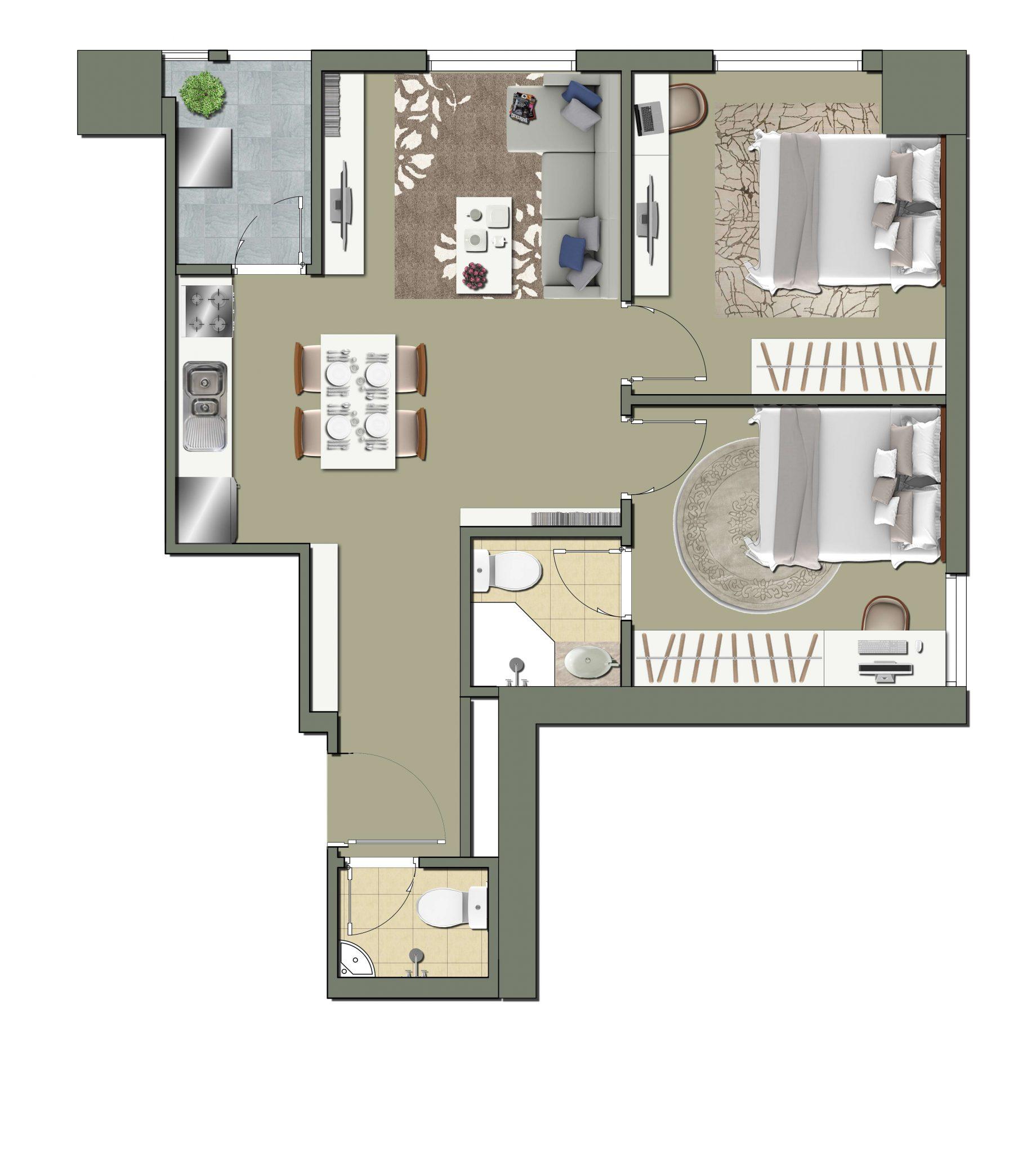 Thiết kế căn số 1 diện tích 63m2 Dự án Parkview Residence Dương Nội