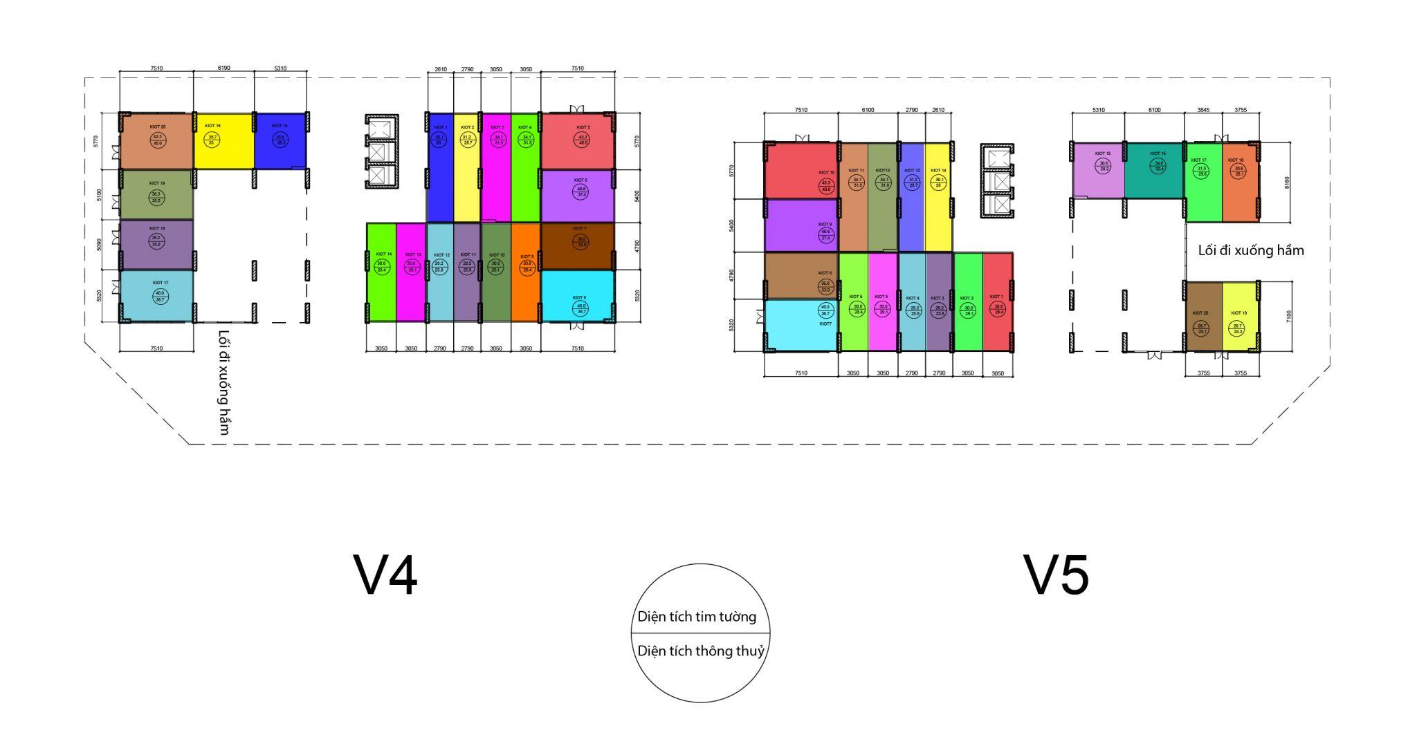Mặt bằng kiot V4-V5